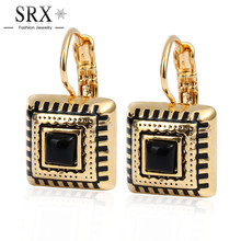 Gold Channel Earrings For Women Resin Enamel Cute Earings Famous Brand Jewelry 3 Colors Square Brincos 2016 New Arrival Bijoux(China)