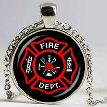 Hot Firefighter Symbol Glass Fashion Pendant Necklace DIY Handmade Fire Dept Jewelry Vintage Charms Trendy Men Women Gift