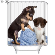 Dog Christmas Shower Curtain anime bath curtain polyester Fabric wolf 3d Waterproof curtain for bathroom accessories set hooks