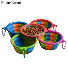 FameBeaut New Arrival Pet Dog Bowl Silicone Pad Feeding Dog Bowl Travel Portable Foldable Puppy Food Container Feeder Dish
