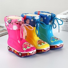 2016 New Boys and girls slip shoes plus velvet warm water shoes baby boots kids cartton rainboots removable shoes 16J21