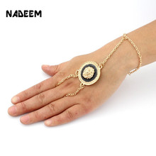 Brand Women Bracelet Bead Punk Style Chain Gold lIon Bracelet New Fashion Nice Jewelry Layers Bangle Ring Connect Bracelets(China)