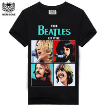 [Men Bone] New Fashion The Beatles Print Heavy Metal Street Rock Black Print Cotton T-shirt All Size Free Shipping