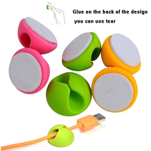 5PC Round Colorful Smart Wire Cord Cable Drop Clips Ties Organizer Holder Line Fixer New