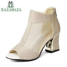 RAZAMAZA Size 32-43 Women Peep Toe Sandals Women Shoes Zipper Glitter High Heel  Sandals Summer Shoes Woman Sexy Gold Heel Sandal 97b7c3e6667c