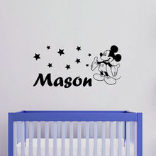 Vinyl Personalized Kids Name Art Wall Sticker Mickey Mouse Pattern Lovely Wall Decal For Home Kids Bedroom Decoration Y-594