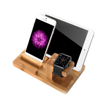 Bamboo wood Desktop Stand for iPad mini Tablet Bracket Docking Holder Charger for iPhone 8 Charging Dock for Apple Watch(China)