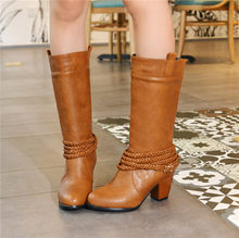 039ad60da1c YMECHIC Western Cowboy Boots for Women Black Brown Red Autumn Winter Woman  Shoes Retro Mid Calf High Heels Boot Ladies Shoes
