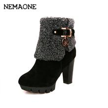free shipping women boots 2016 fashion autumn ankle boots pu leather shoes woman black brown high heels boots shoes women