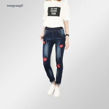 jeans women blue embroidery sexy lips Large size XL 5XL mid waist elastic tight trousers decoration Pattern Moustache effect 2XL