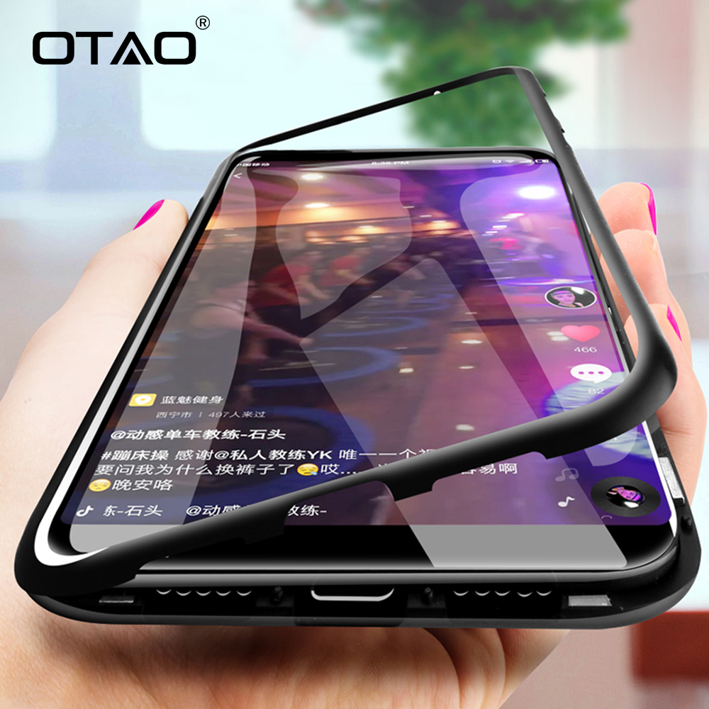 OTAO Magnetic Adsorption Metal Case For Huawei Mate 20 Pro 20X P20 lite P10 Nova 3 3i Y9 Cases Tempered Glass Clear Magnet Cover(China)