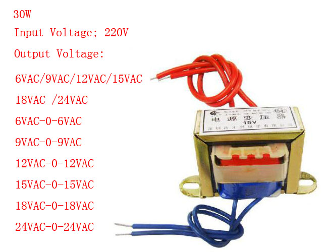 (1)30W EI Ferrite Core Input 220V 50Hz Vertical Mount Electric Power Transformer Leave A Message For The Output Voltage<br>