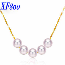 XF800 Natural Akoya Pearls Necklace Fine Jewelry Perfectly Round Sea Water Pearl Pendant Real 18K gold/au750 Chain Gift S35(China)