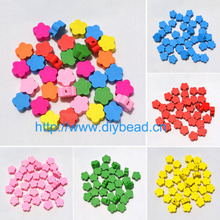 50 pieces/lot DIY Jewelry Accessory Mix Colors Nature Wood beads 12MM Cartoon Blossom Children handcraft Department