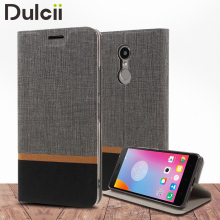 Dulcii fundas For Lenovo K6 Note Cases Cross Texture Leather Card Holder Cover for Lenovo K6 Note with Steel Sheet - 5.5 inch