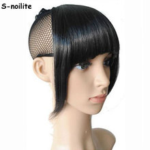 S-noilite US Shipping Clip In On Bang Bangs Fringe Synthetic Hairpiece Fringe Hair Extensions Black Brown Blonde(China)