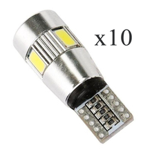 10Pcs Cars t10 led bul W5W 6W 8000K  Canbus Led Light-Emitting Diodes 5730 5630 independent led bulb no errors univera auto lamp