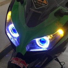 "Xplus Universal Motorcycle 35w 2""mini high/low Hid Bi xenon Projector Lens Headlight Kit CCFL Angel Eye Devil Eye(China)"