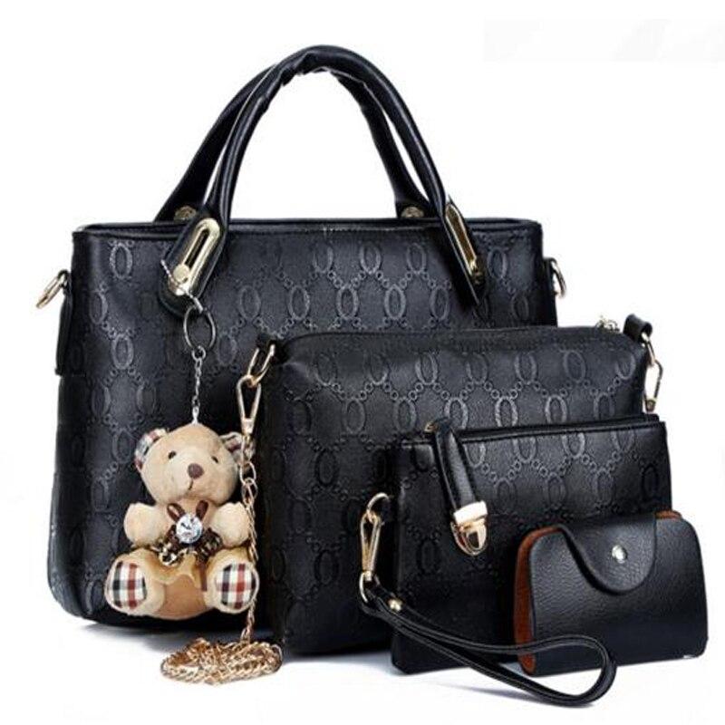 Women Top Handle Bags Handbag Set PU Leather Composite Famous Brand Borse bag kit lady messenger bags purse bear toy 4pcs/set<br><br>Aliexpress