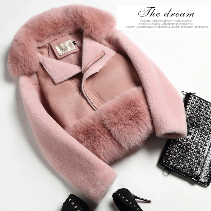 Autumn Winter New 2017 Real Natural Sheep Fur Integrated Short Jacket Real Natural Fox Fur Collar Short Sheep Leather Jacket