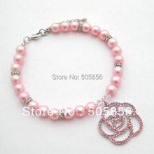 Dog Pet pearls necklace collar rhinestones rose charm,pet puppy jewelry/S M L(China)