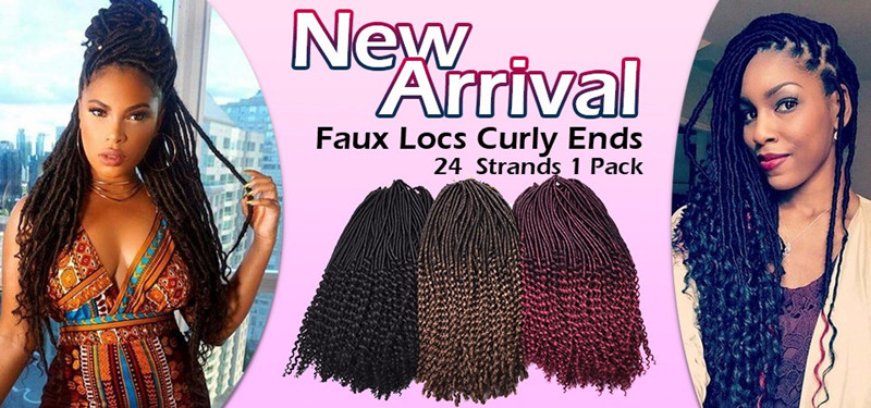 Synthetic Hair For Braiding 24inch 24strands Goddess Faux Locs Crochet Hair Curly Ends Dreadlocks Hair Extensions Wavy Hair