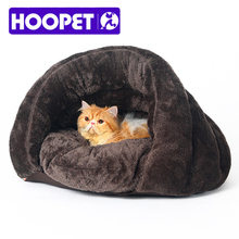 New arrival  warm cat sleeping bags pet beds half cover winter nest  kitty house cats bed brown 2 Size #K