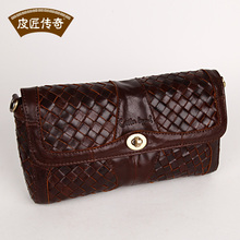 High Quality GENUINE LEATHER Women's tote bag wax cowhide knitted 2013 purse vintage messenger bag 8068187(China)