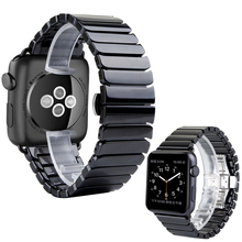 Black White Glossy Ceramic Watch Band Strap for Apple Watch iwatch 38/42mm Link Bracelet Butterfly Buckle I83.