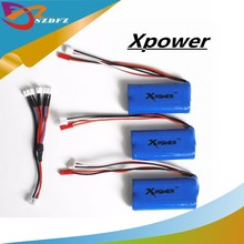 bateria lipo 7.4 v 3pcs 1500 mah li-po battery and 3in1 cable for DH9053 9101 mjx f45 9118 rc Helicopter parts(China)