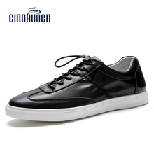 Free Shipping Man Shoes Casual sales with Lace-up Leather Cow Breathable Mans colors for white shoes(China)