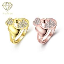 Buy Gold Rings Online New Fashion AAA+ Cubic Zirconia Unique Double Hearts Rings for Women Gold/Rose-gold Color Ring Jewellery