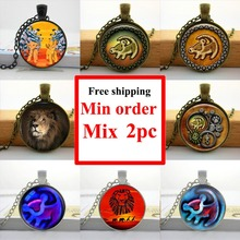 Wholesale Lion King Necklace Lion head Pendant Lion King Simba jewelry Glass Picture Pendant