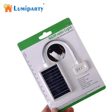 LumiParty Mini Portable Solar Pocket Book Clip Light 3 LED Flexible Clip Solar Power Study Light USB Power Charging