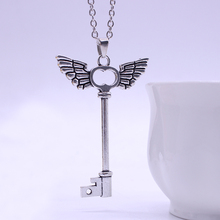 European And American Sell Well Jewelry Angel Wings Cross-Shaped Skeleton Key Pendant Necklace Alloy Materials Free Shipping