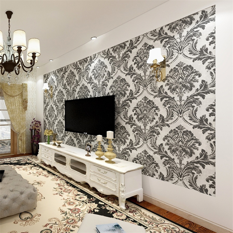 Beibehang wallpaper roll TV background Hotel Shop KTV decoration Jane European black and white Damask embossed 3D wallpaper<br>