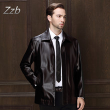 Lederjacke Men Leather Jacket Soft Leather Jacket Male Business casual Coats Chaqueta de cuero veste en cuir giacca di pelle(China)