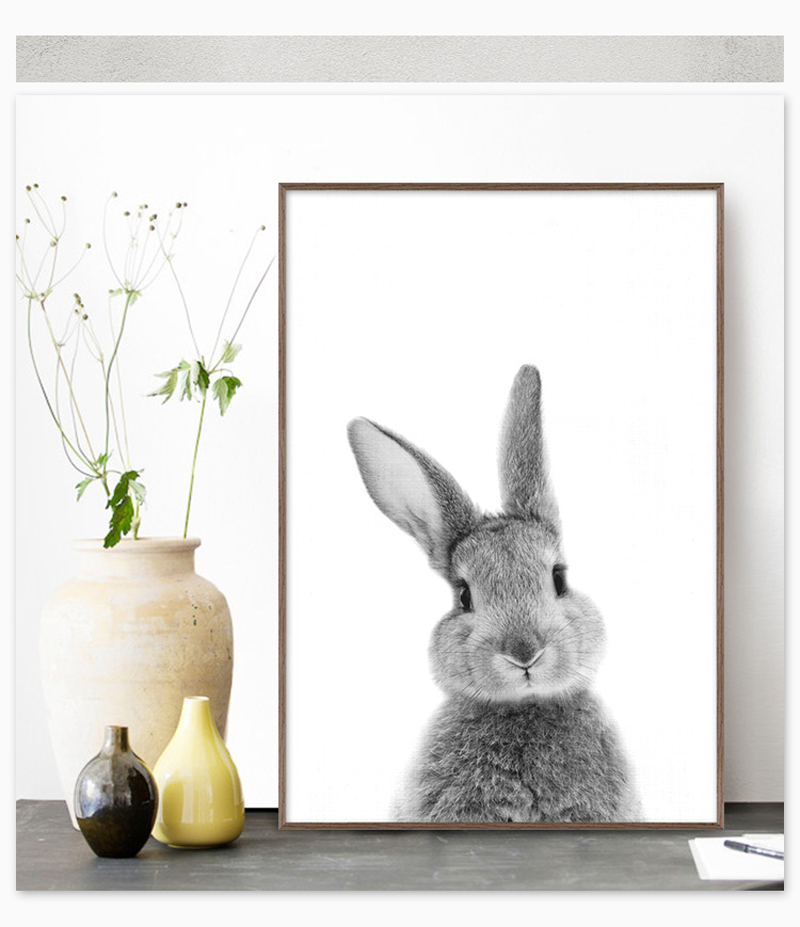 Nordic Canvas Painting Cute Rabbit Nursery Wall Art Posters And Prints Wall Pictures Kids Room Baby Girls Room Decor