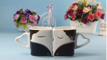 Lovers Kiss Valentine Cute Couple Mugs Will Change Color Changing Cups