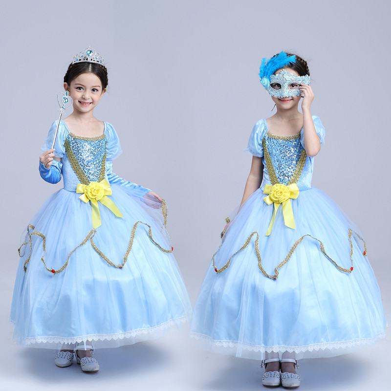 Spring Bow Kids Girls Wedding Dress Cinderella Princess Kids Clothing Blue Mesh Lace Bow<br>