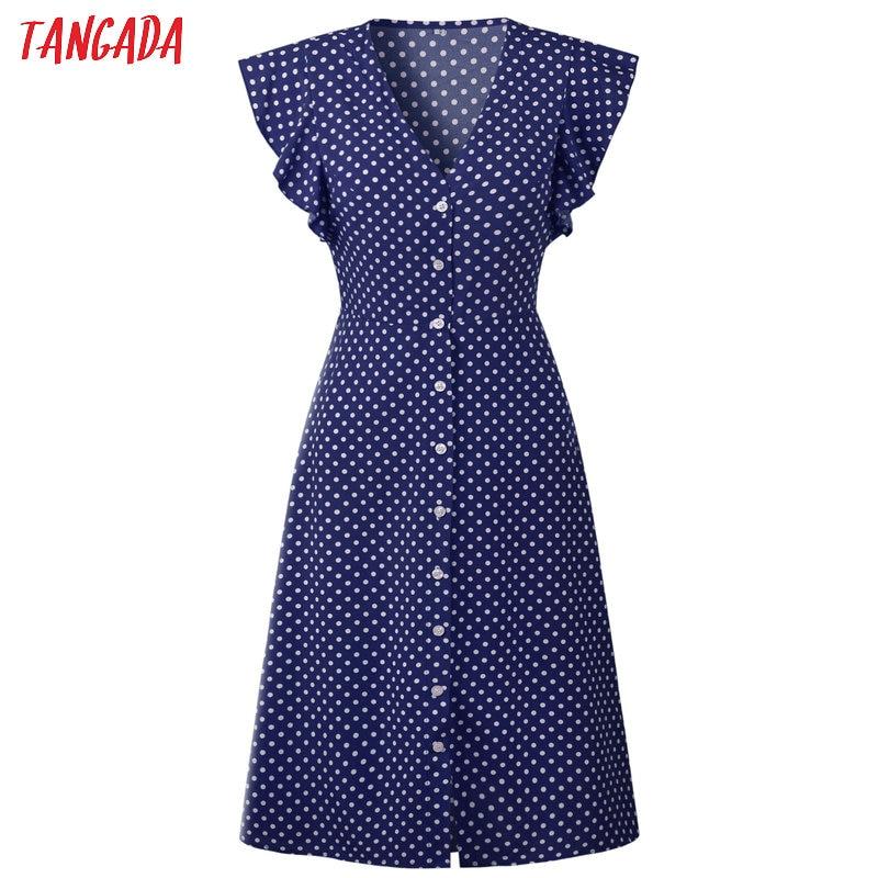 HTB1Xu1oD29TBuNjy1zbq6xpepXa8 - Tangada polka dot dress for women office midi dress 80s 2018 vintage cute A-line dress red blue ruffle sleeve vestidos AON08
