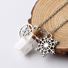 Bright Colors things set in Glass Wishing Bottle Alloy snowflake Shape Pendant&Necklace for Female Jewelry Wholesale NW2572(China)