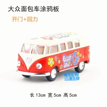 10pcs/lot Brand New KT 1/32 Scale Germany 1962 VOLKSWAGEN BUS Peace Love Version Diecast Metal Pull Back Car Model Toy