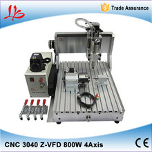 Mini 3d cnc router 4 axis CNC 3040 Z-VFD 800W assembled & tested well cnc mold making machine