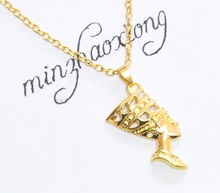 New Fashion Gold Egyptian Egypt Queen Nefertiti Charms Pendant Necklace For Mom Women Jewelry Gift 10 pcs Hot