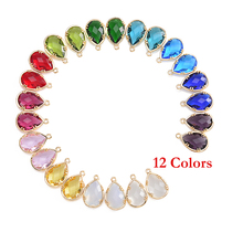 24Pcs 12 Assort Colors Faceted Framed Glass Bezel Connector CZ Zircon Birthstone Pendants For DIY Jewelry Personalized Findings(China)