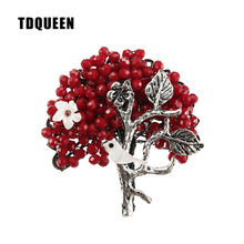 TDQUEEN Brooches Red Crystal Bead Broches Vintage Metal Antique Silver Plated Pin Jewelry Pearl Shell Bird Brooch for Women(China)
