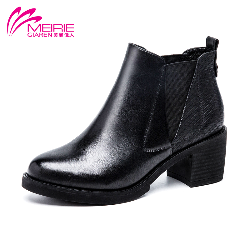 MeiRieS 2016 winter New arrival women PU leather boots Med heel ladies boots solid  black brown female boots wholesale<br><br>Aliexpress