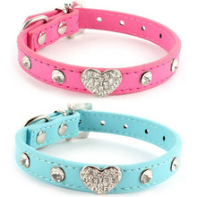 Buy Newest Bling Rhinestones Crystal Heart Leather Collar Adjustable Pet Dogs Cat Puppy Neck Strap Adjustable Puppy Dress for $1.43 in AliExpress store