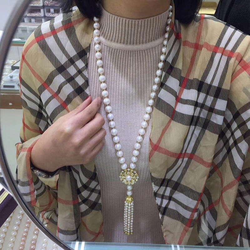 Sinya Tassels fashion Sweater chain Natural pearls Strand long necklace for Women Mum lover gold or white gold color optional (4)